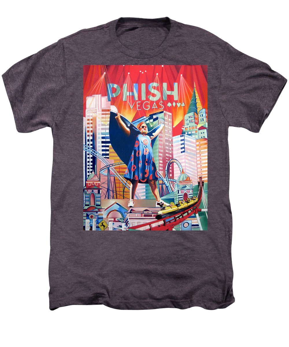 Phish Men's Premium T-Shirt featuring the drawing Fishman In Vegas by Joshua Morton