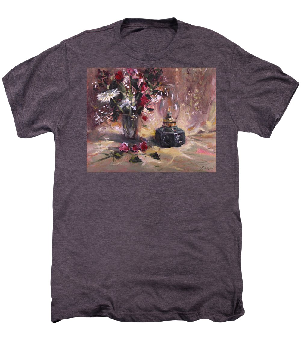 Flowers Men's Premium T-Shirt featuring the painting Flowers With Lantern by Nancy Griswold