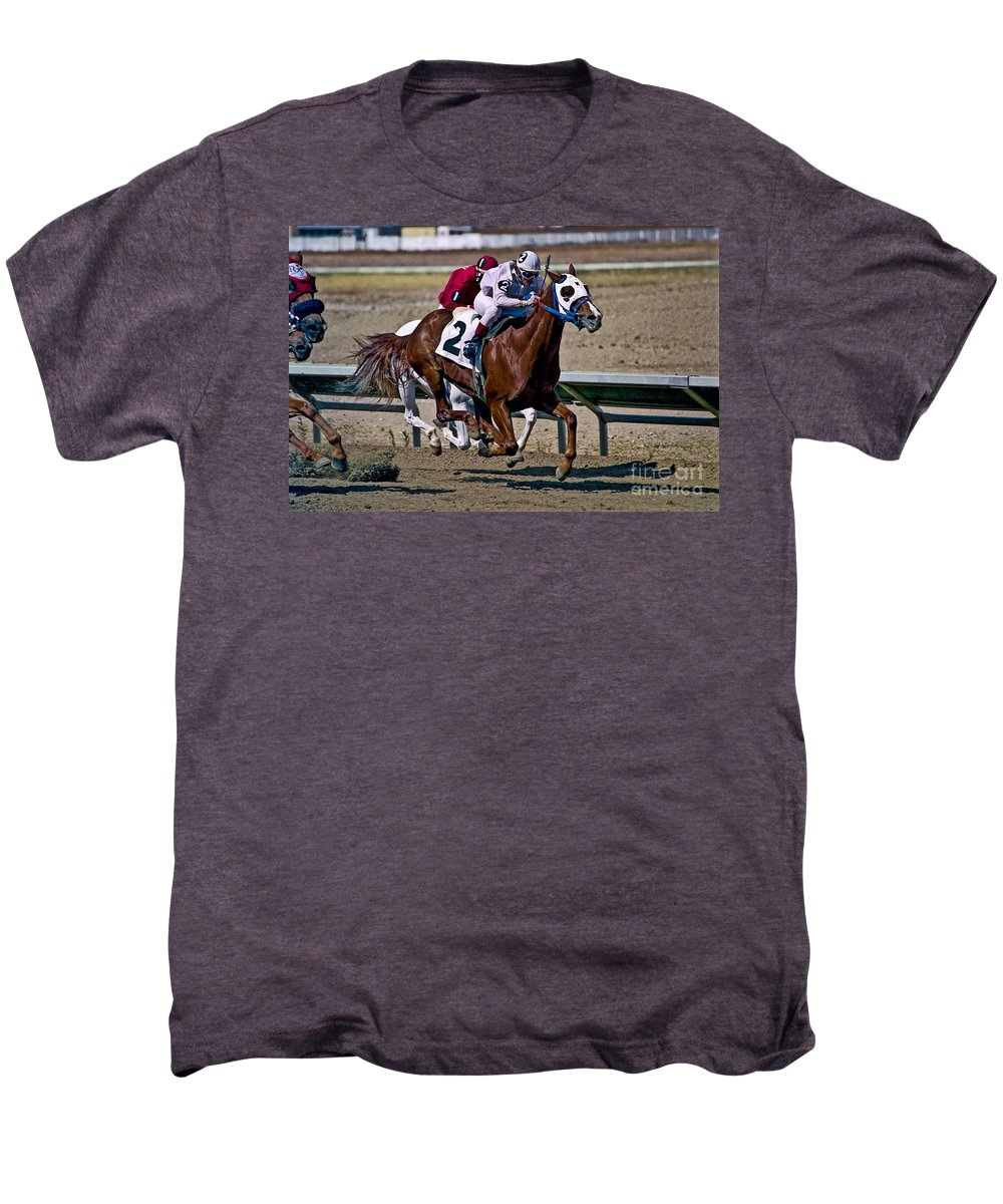Racing Men's Premium T-Shirt featuring the photograph Flying Hooves by Kathy McClure