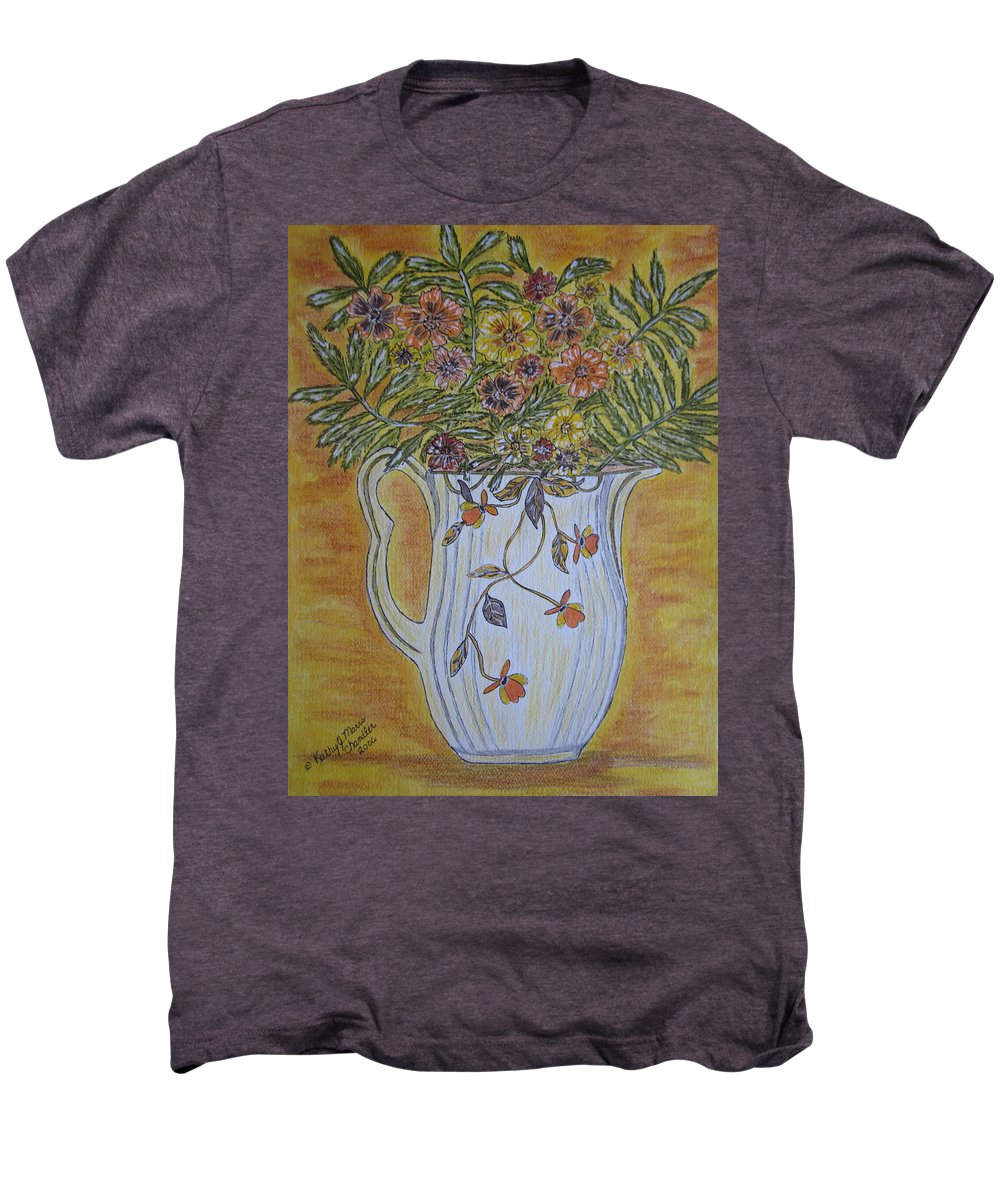 Jewel Tea Men's Premium T-Shirt featuring the painting Jewel Tea Pitcher With Marigolds by Kathy Marrs Chandler