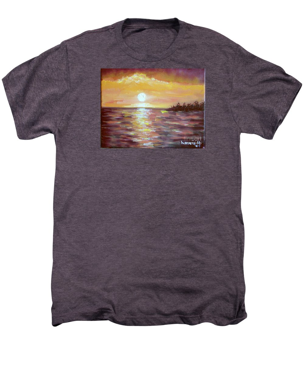 Sunset Men's Premium T-Shirt featuring the painting Kona Sunset by Laurie Morgan