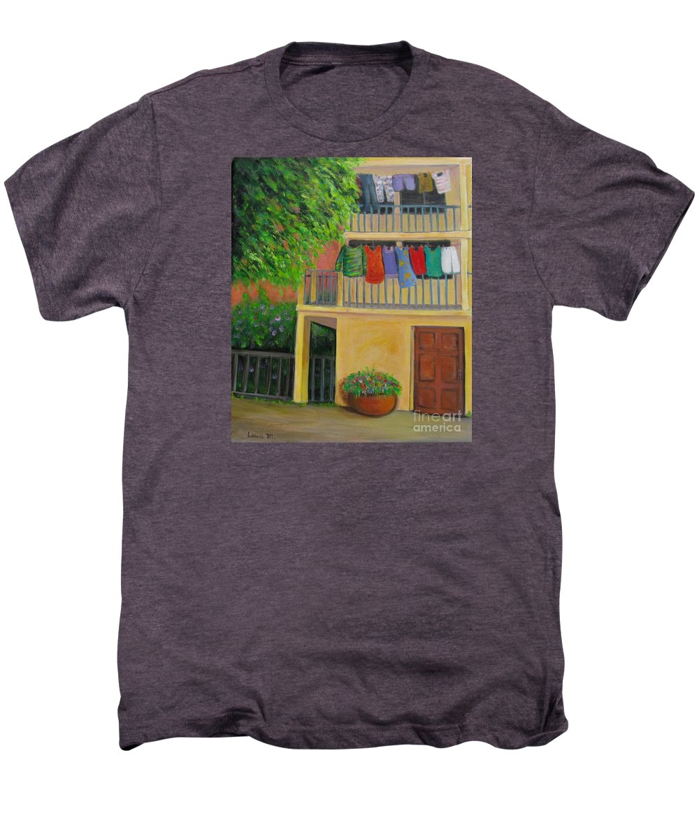Laundry Men's Premium T-Shirt featuring the painting Laundry Day by Laurie Morgan