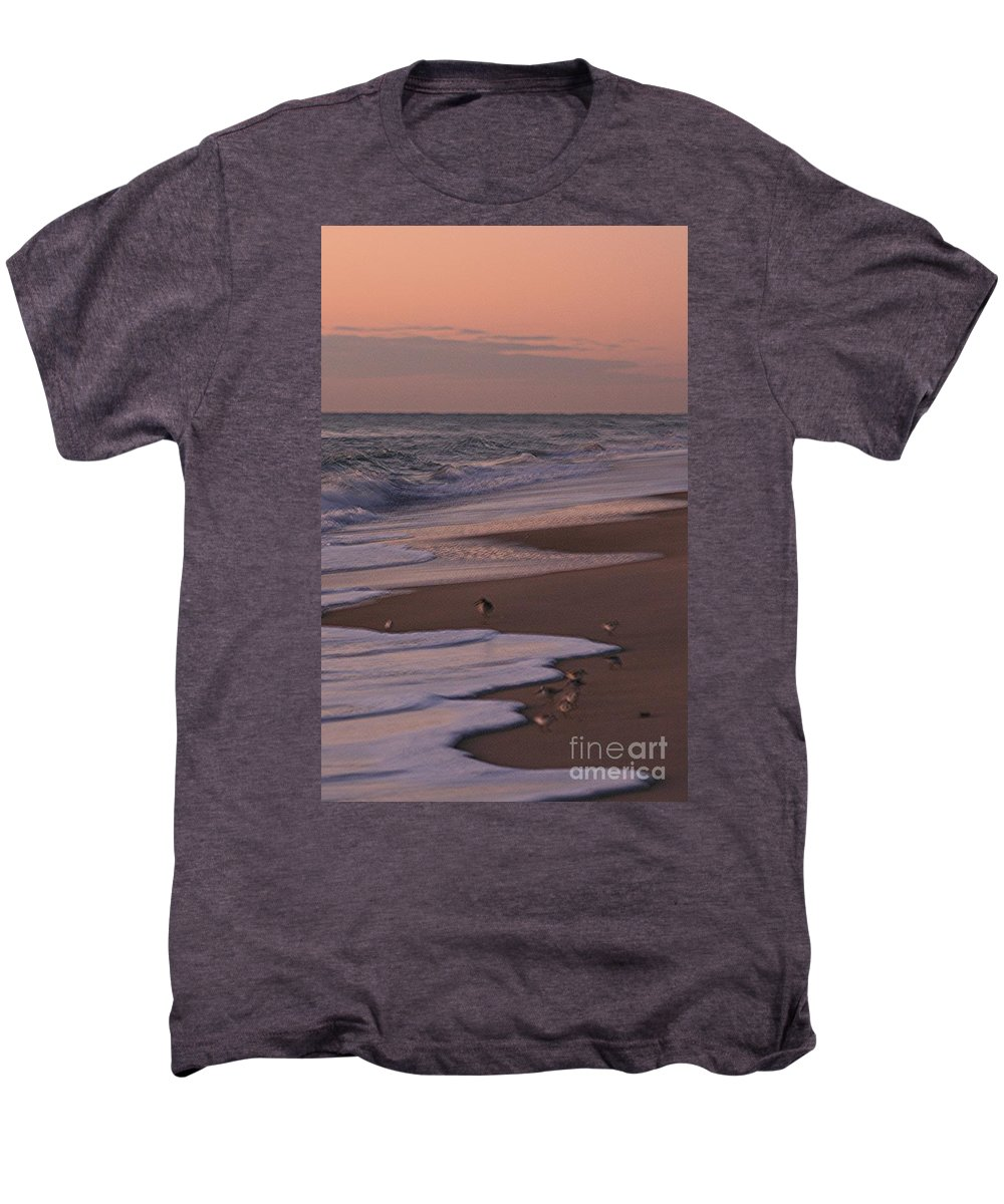 Beach Men's Premium T-Shirt featuring the photograph Morning Birds At The Beach by Nadine Rippelmeyer