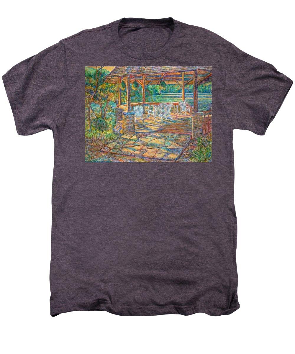 Lake Men's Premium T-Shirt featuring the painting Mountain Lake Shadows by Kendall Kessler