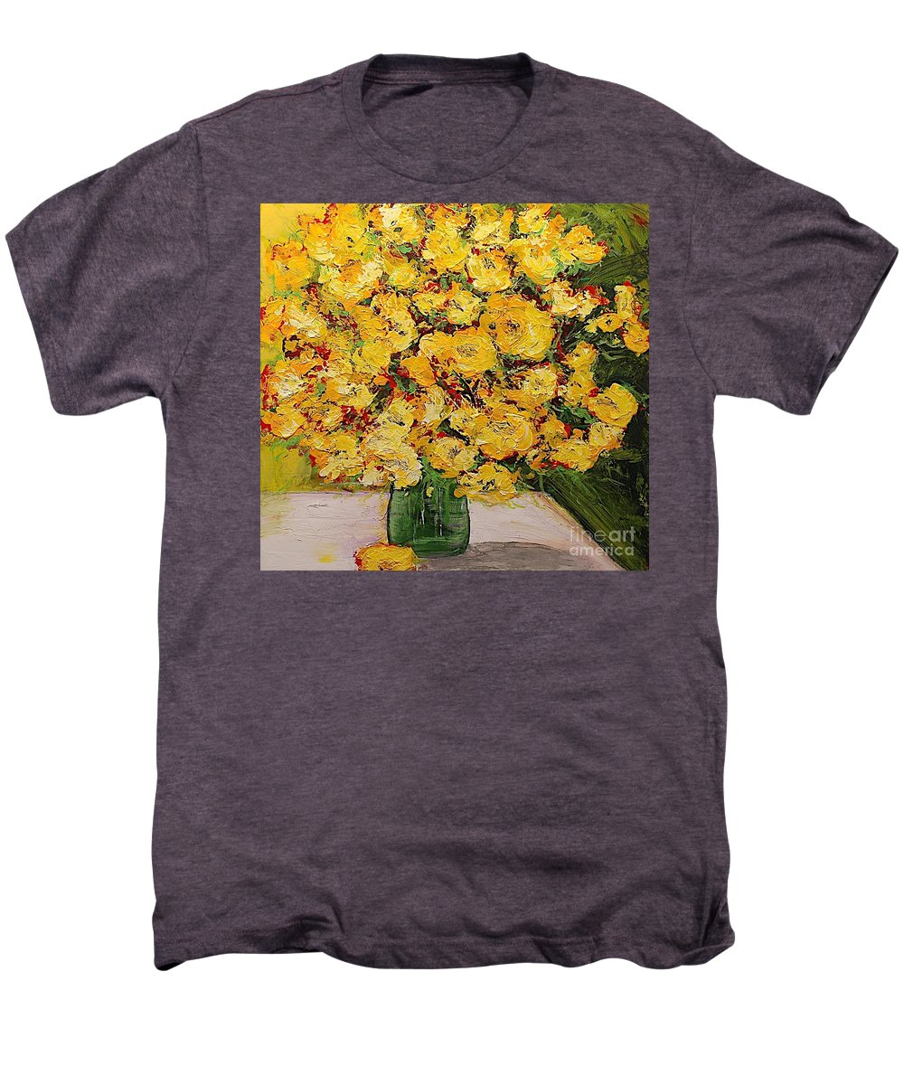 Landscape Men's Premium T-Shirt featuring the painting New Beginnings by Allan P Friedlander