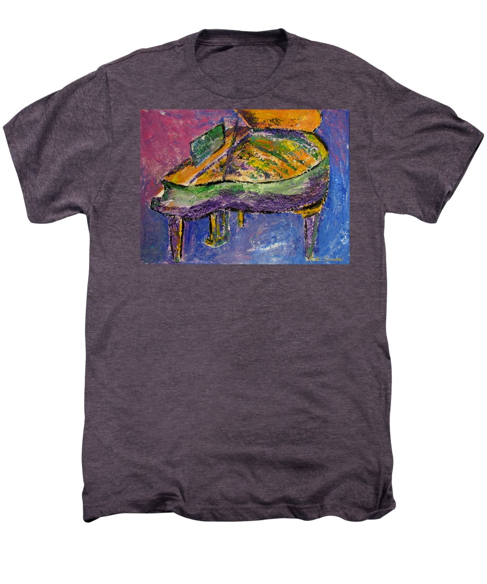 Impressionist Men's Premium T-Shirt featuring the painting Piano Purple by Anita Burgermeister