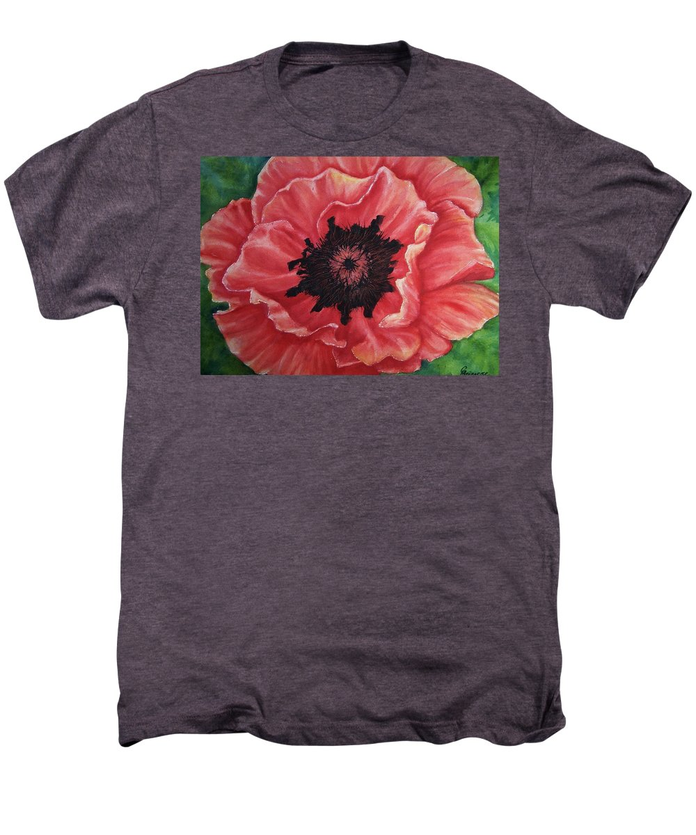 Poppy Men's Premium T-Shirt featuring the painting Poppy by Conni Reinecke