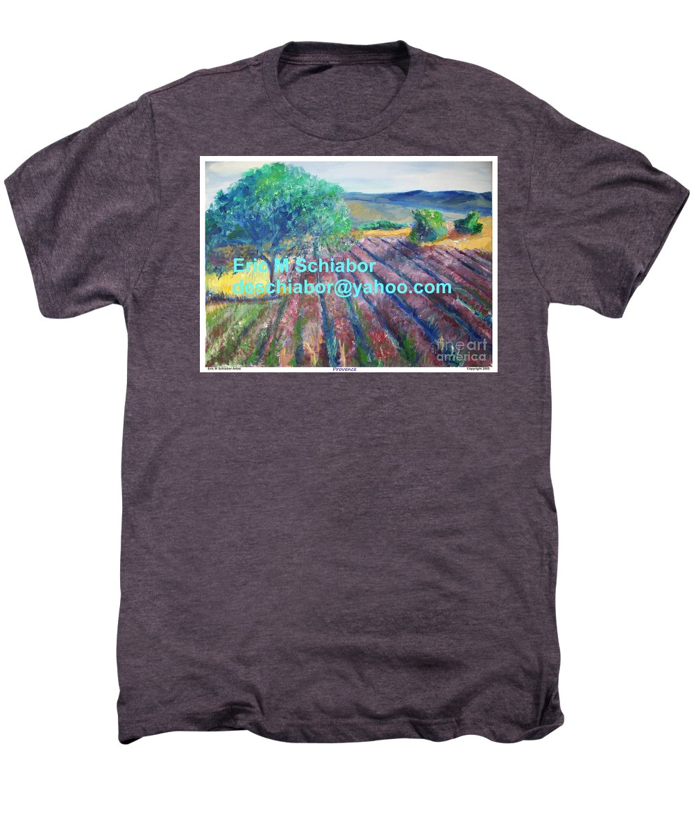 The Actor Men's Premium T-Shirt featuring the painting Provence Lavender Field by Eric Schiabor