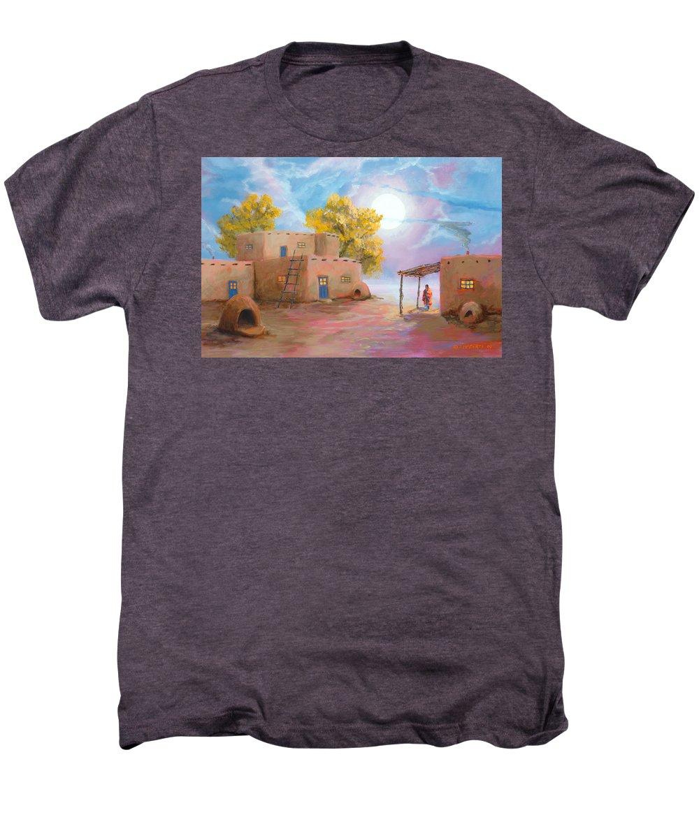 Pueblo Men's Premium T-Shirt featuring the painting Pueblo De Las Lunas by Jerry McElroy