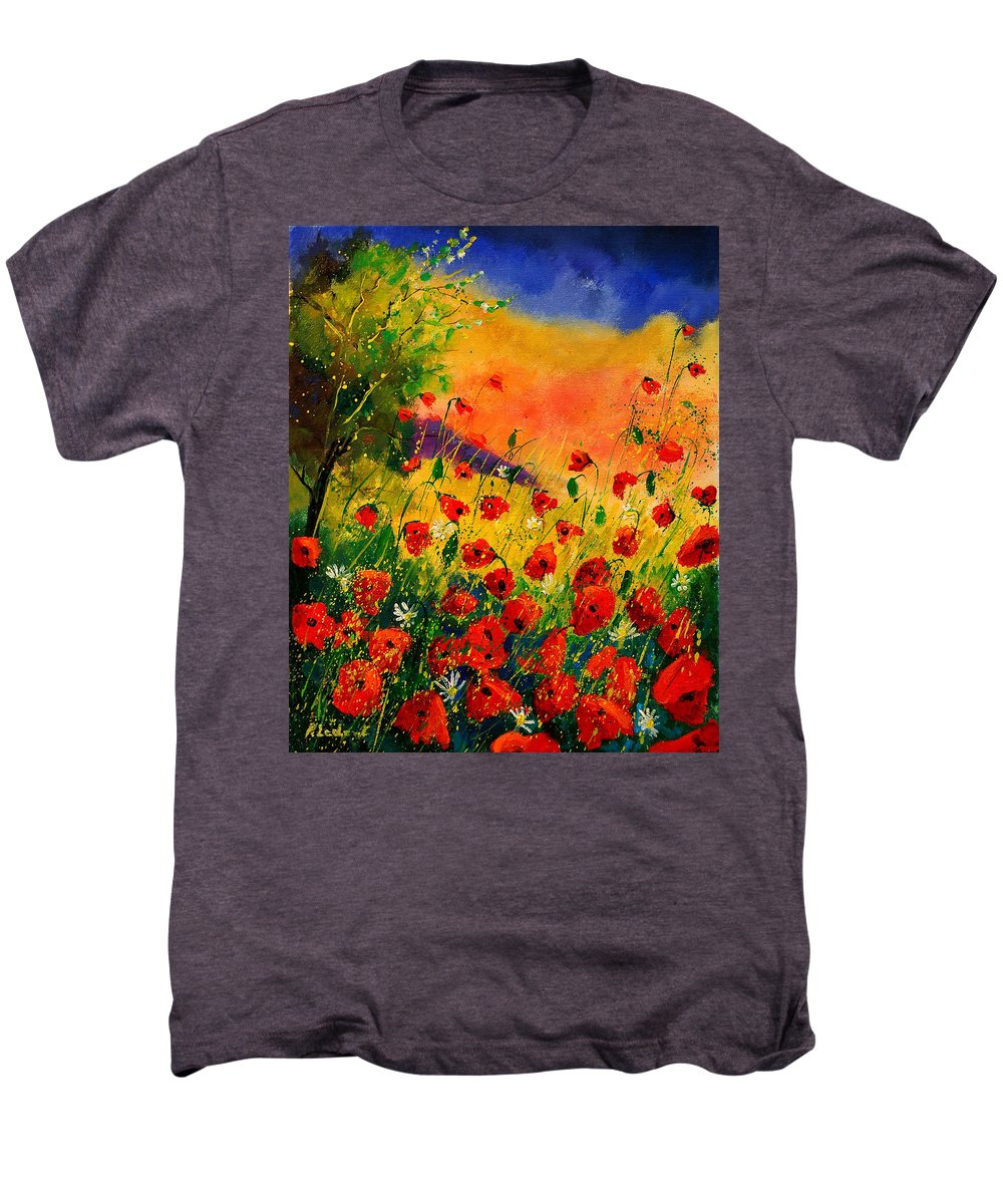 Poppies Men's Premium T-Shirt featuring the painting Red Poppies 45 by Pol Ledent