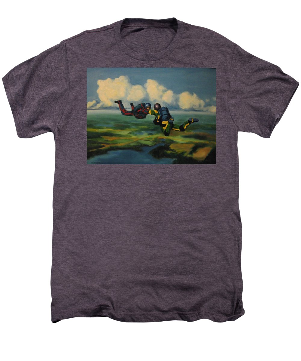 Skydivers Men's Premium T-Shirt featuring the painting Relative Work by John Malone