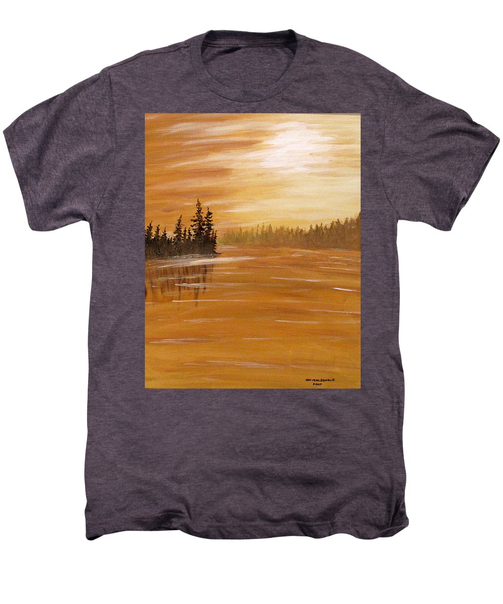 Northern Ontario Men's Premium T-Shirt featuring the painting Rock Lake Morning 1 by Ian MacDonald