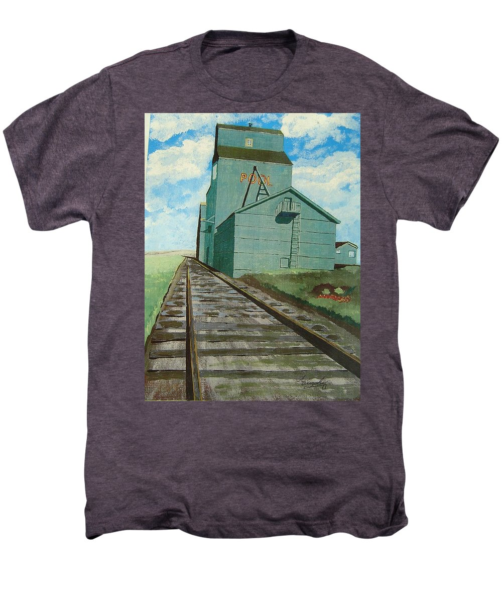 Elevator Men's Premium T-Shirt featuring the painting The Grain Elevator by Anthony Dunphy