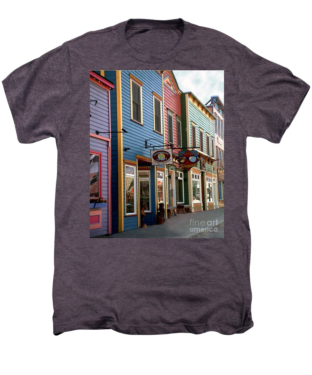 Landscape Men's Premium T-Shirt featuring the photograph The Shops In Crested Butte by RC DeWinter