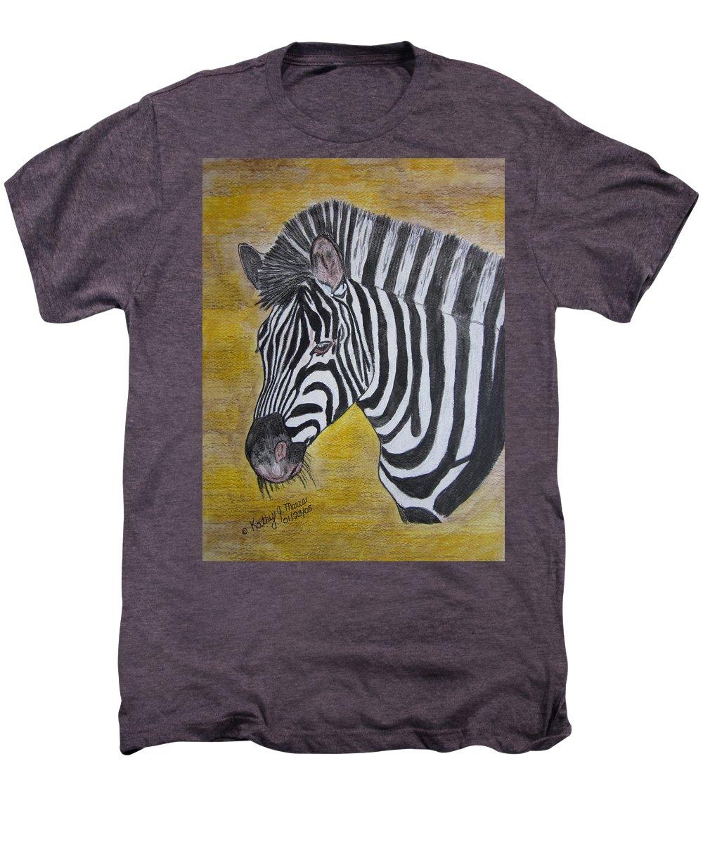 Zebra Men's Premium T-Shirt featuring the painting Zebra Portrait by Kathy Marrs Chandler