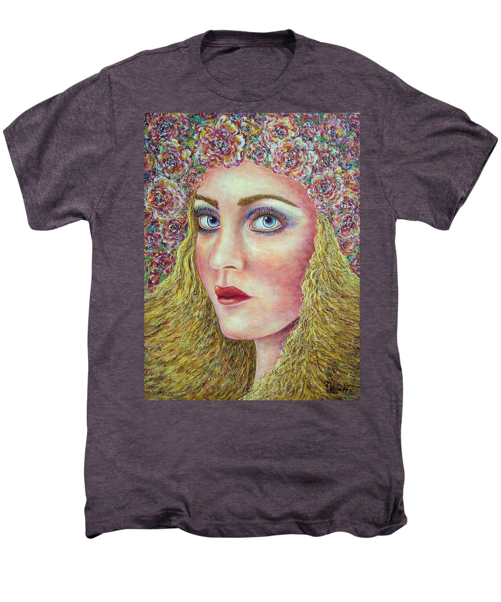 Woman Men's Premium T-Shirt featuring the painting  The Flower Girl by Natalie Holland