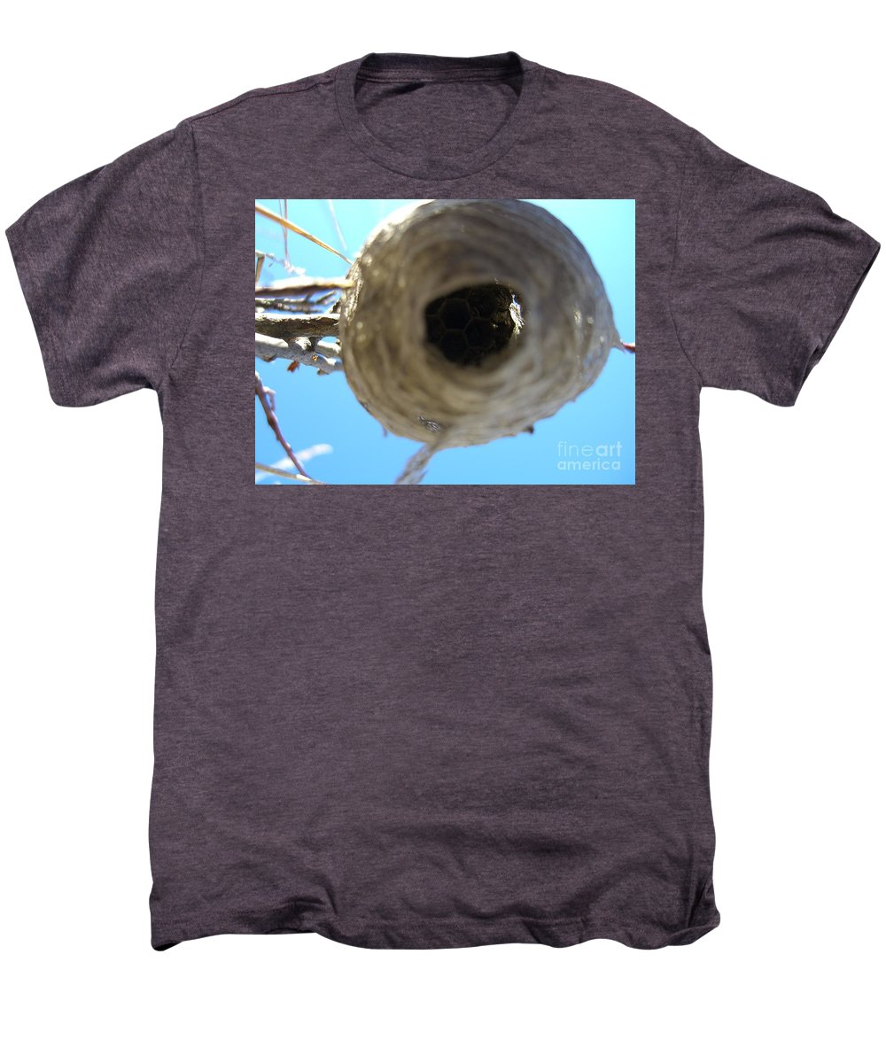 Photograph Bee Hive Blue Sky Branch Insect Men's Premium T-Shirt featuring the photograph Bee Hive by Seon-Jeong Kim