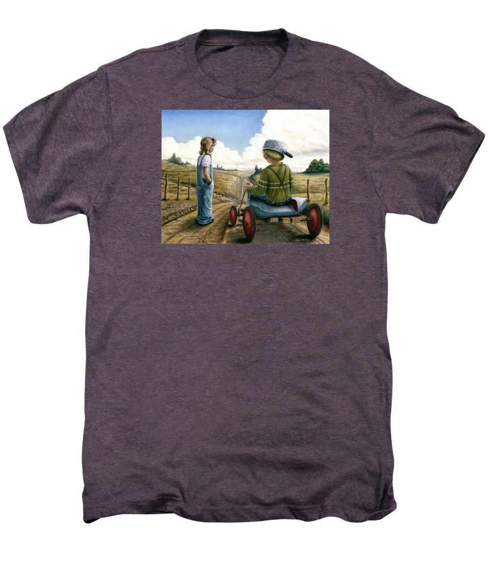 Children Playing Men's Premium T-Shirt featuring the painting Down Hill Racer by Lance Anderson