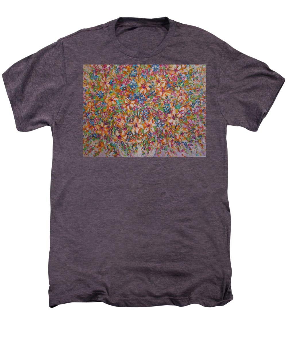 Flowers Men's Premium T-Shirt featuring the painting Flower Galaxy by Natalie Holland