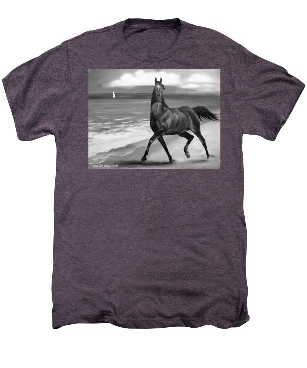 Horses Men's Premium T-Shirt featuring the painting Horses In Paradise Dance by Gina De Gorna