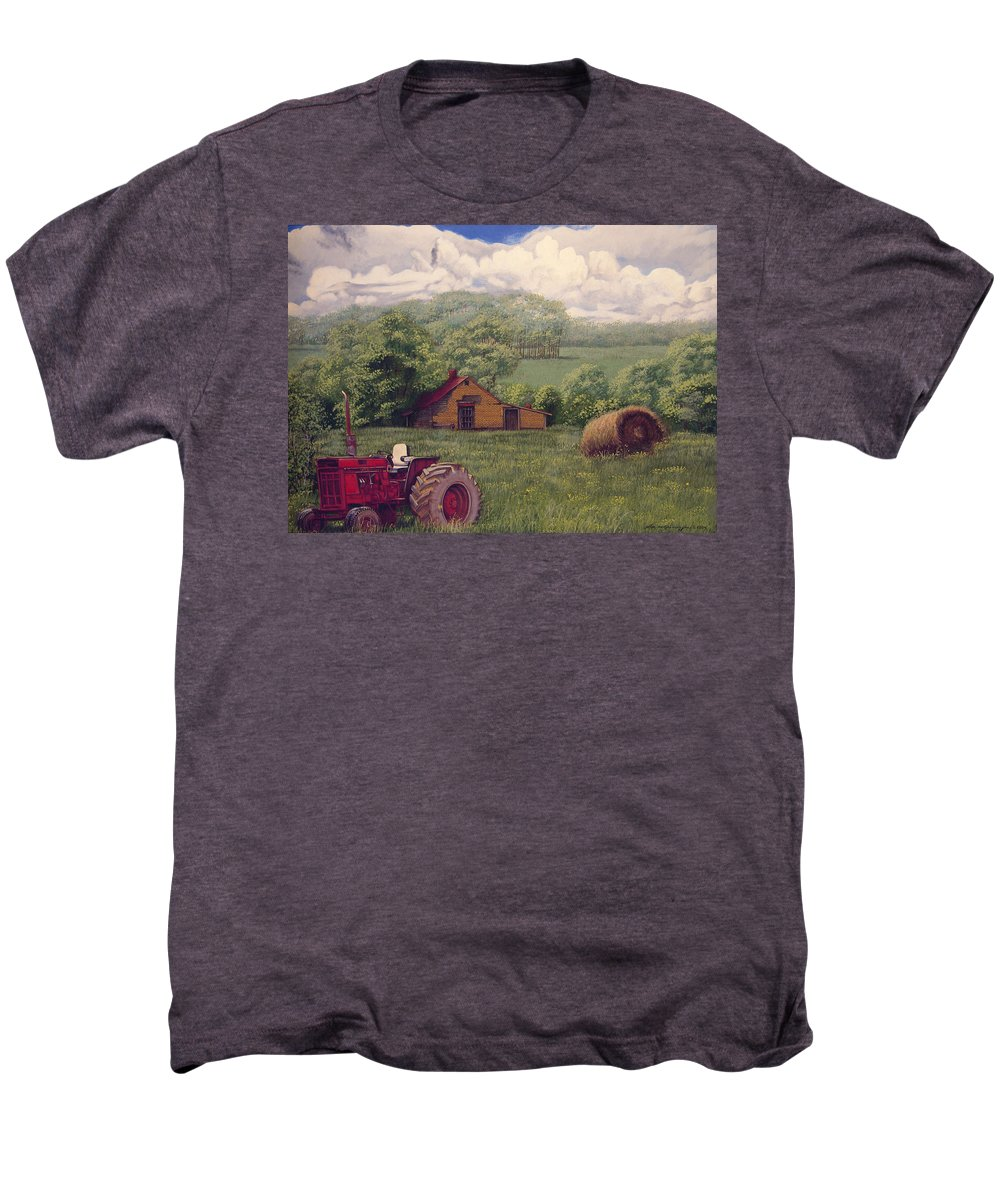 Landscape Men's Premium T-Shirt featuring the painting Idle In Godfrey Georgia by Peter Muzyka