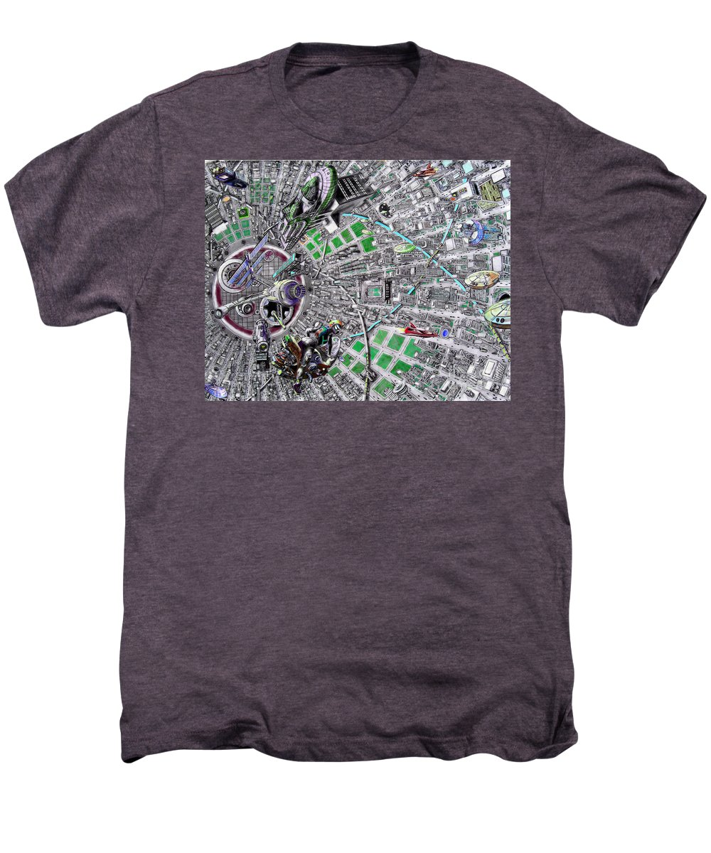 Landscape Men's Premium T-Shirt featuring the drawing Inside Orbital City by Murphy Elliott