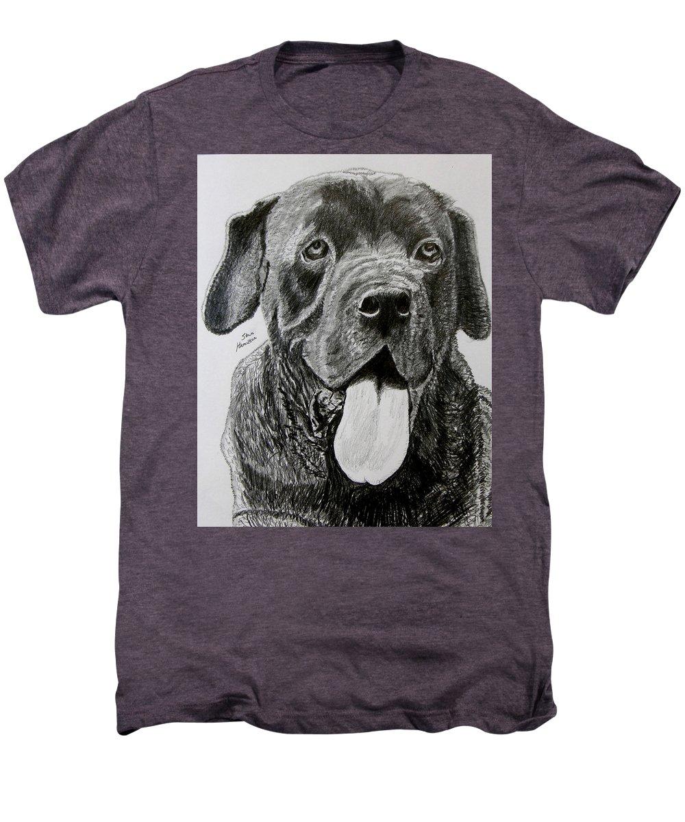 Dog Portrait Men's Premium T-Shirt featuring the drawing Sampson by Stan Hamilton