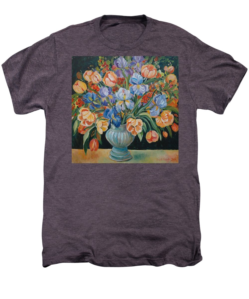 Still Life Men's Premium T-Shirt featuring the painting Tulips by Alexandra Maria Ethlyn Cheshire