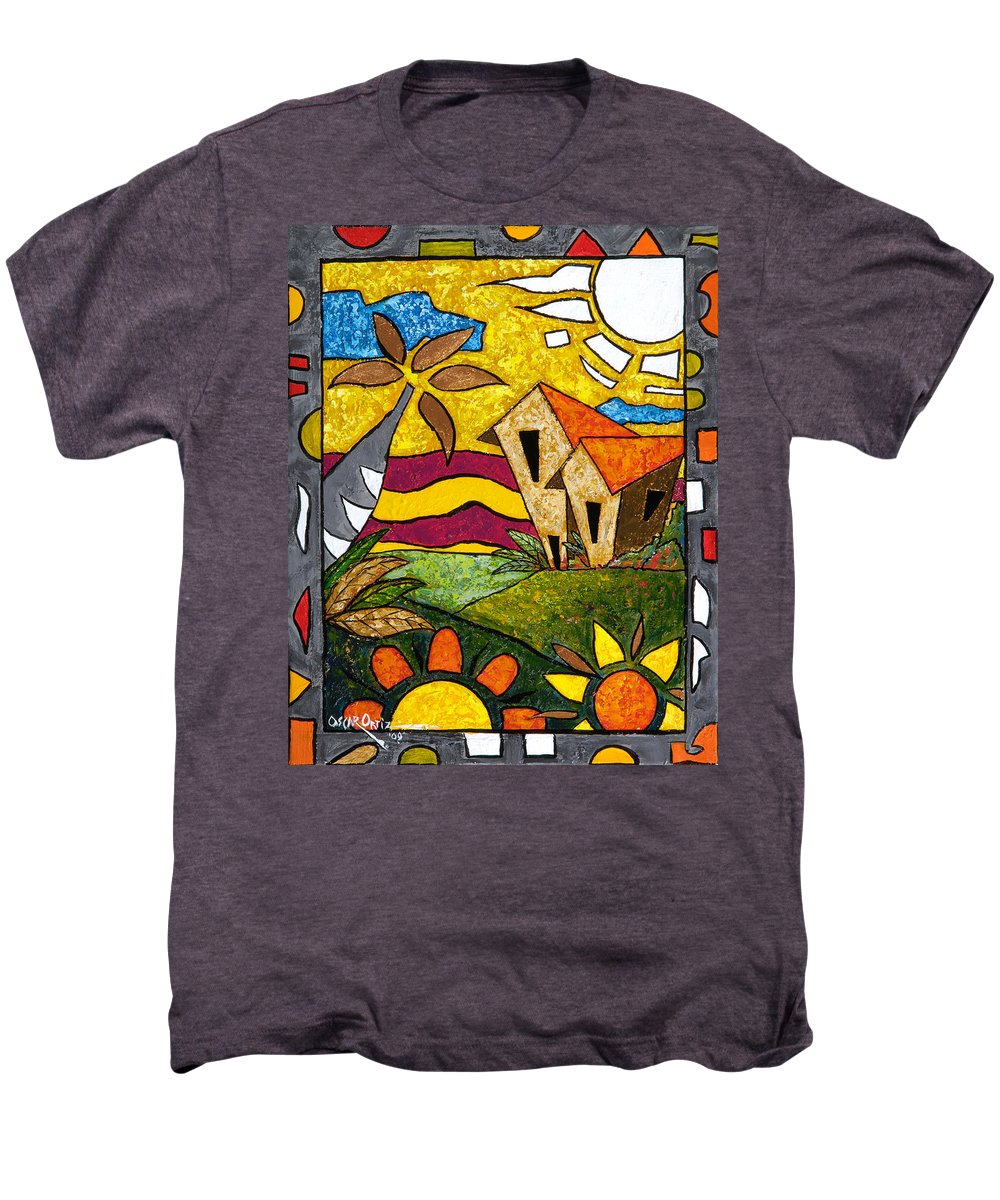 Puerto Rico Men's Premium T-Shirt featuring the painting A Beautiful Day by Oscar Ortiz