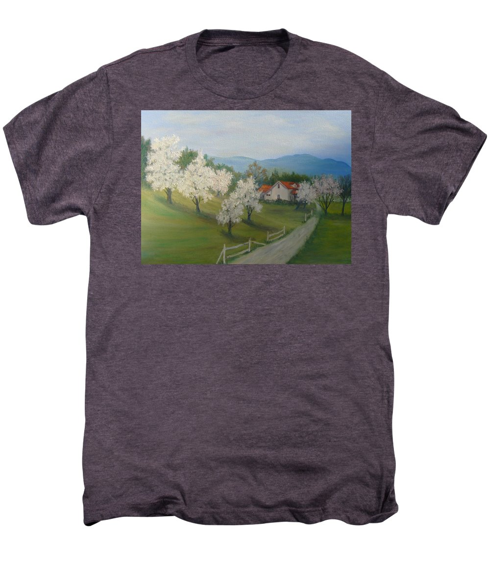 Landscape; Spring; Mountains; Country Road; House Men's Premium T-Shirt featuring the painting A Day In The Country by Ben Kiger