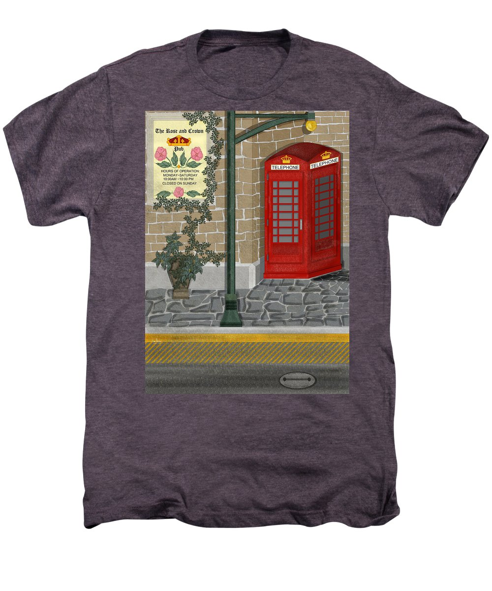 Cityscape Men's Premium T-Shirt featuring the painting A Merry Old Corner In London by Anne Norskog