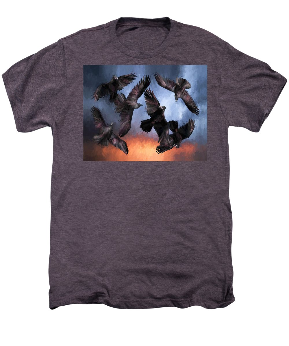 Fine Art Men's Premium T-Shirt featuring the painting Airborne Unkindness by David Wagner