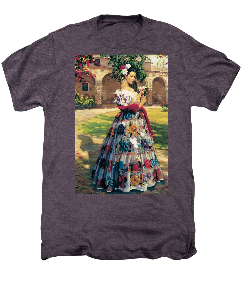 Woman Elaborately Embroidered Mexican Dress. Background Mission San Juan Capistrano. Men's Premium T-Shirt featuring the painting Al Aire Libre by Jean Hildebrant