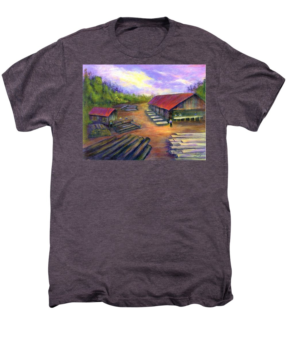 Amish Men's Premium T-Shirt featuring the painting Amish Lumbermill by Gail Kirtz