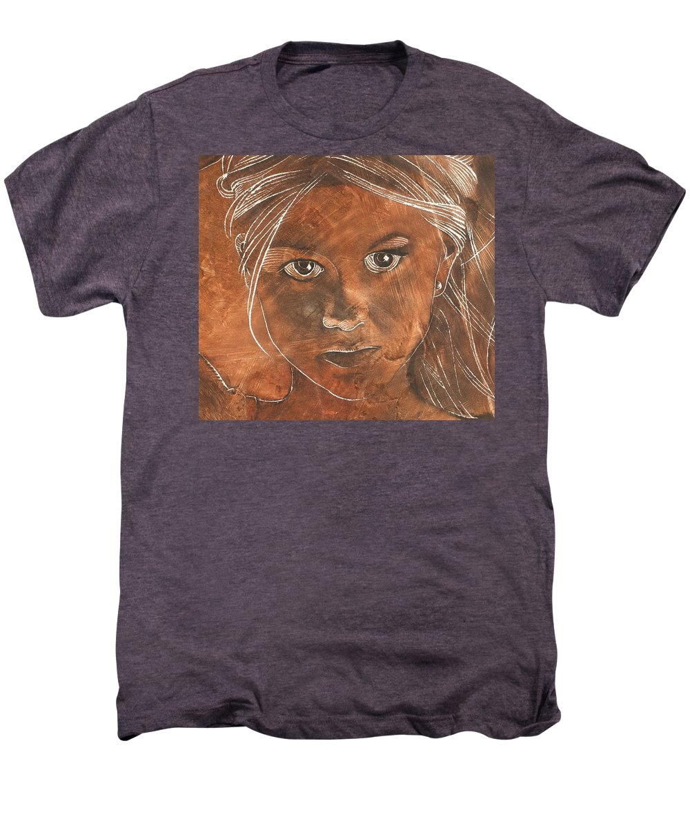 Nude Men's Premium T-Shirt featuring the painting Angel In Process Head Detail by Richard Hoedl