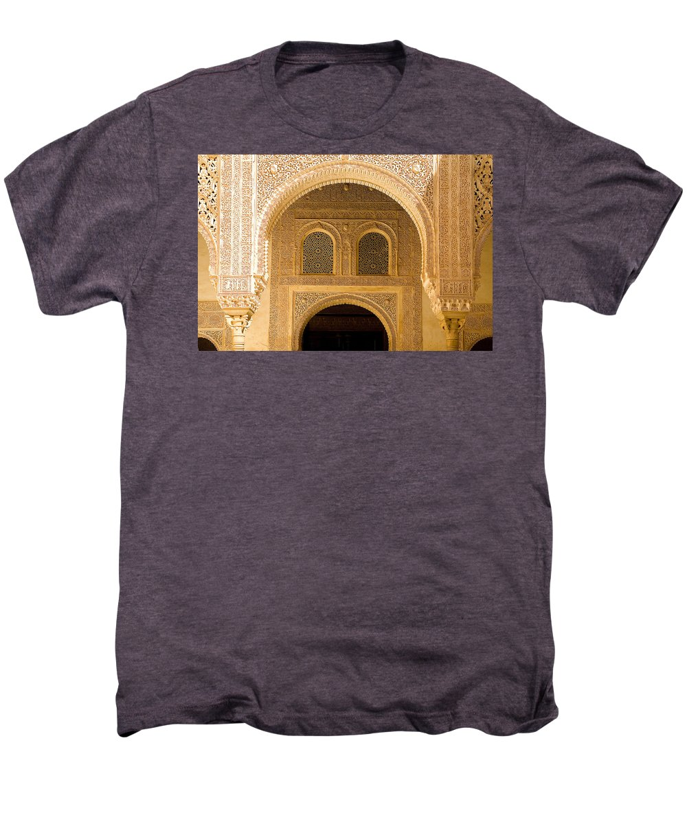 Cuarto Men's Premium T-Shirt featuring the photograph Arabesque Ornamental Designs At The Casa Real In The Nasrid Palaces At The Alhambra by Mal Bray