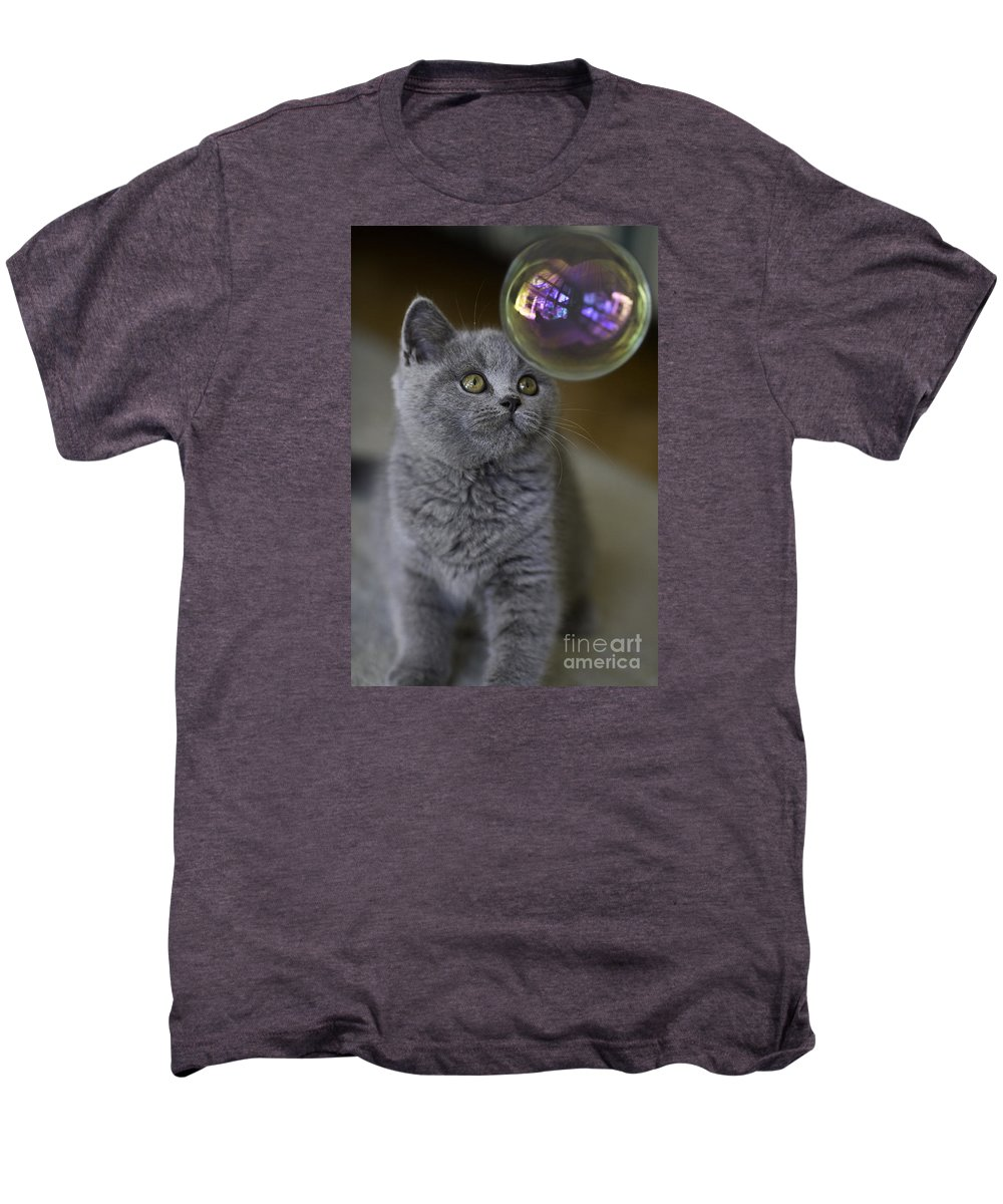 Cat Men's Premium T-Shirt featuring the photograph Archie With Bubble by Avalon Fine Art Photography