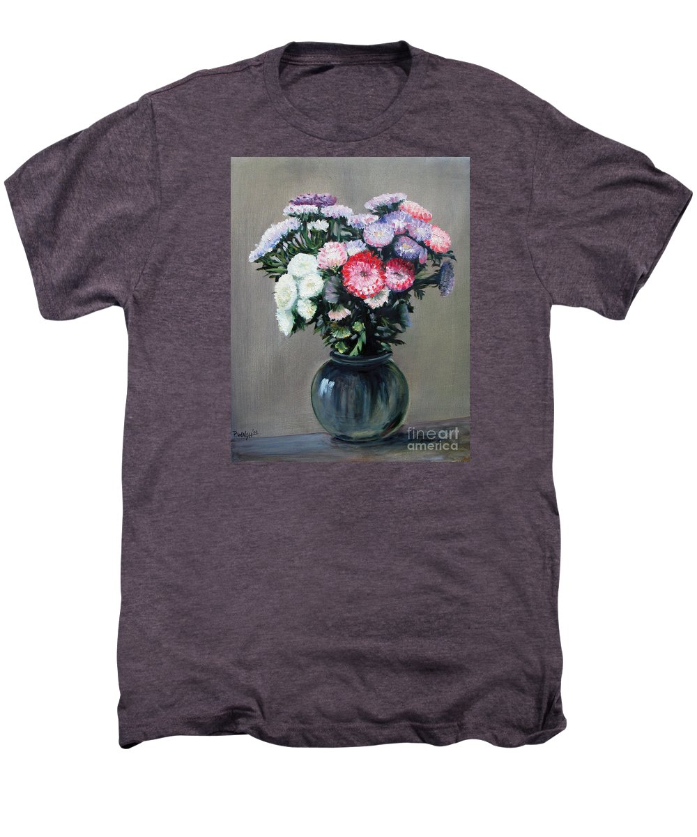 Flowers Men's Premium T-Shirt featuring the painting Asters by Paul Walsh
