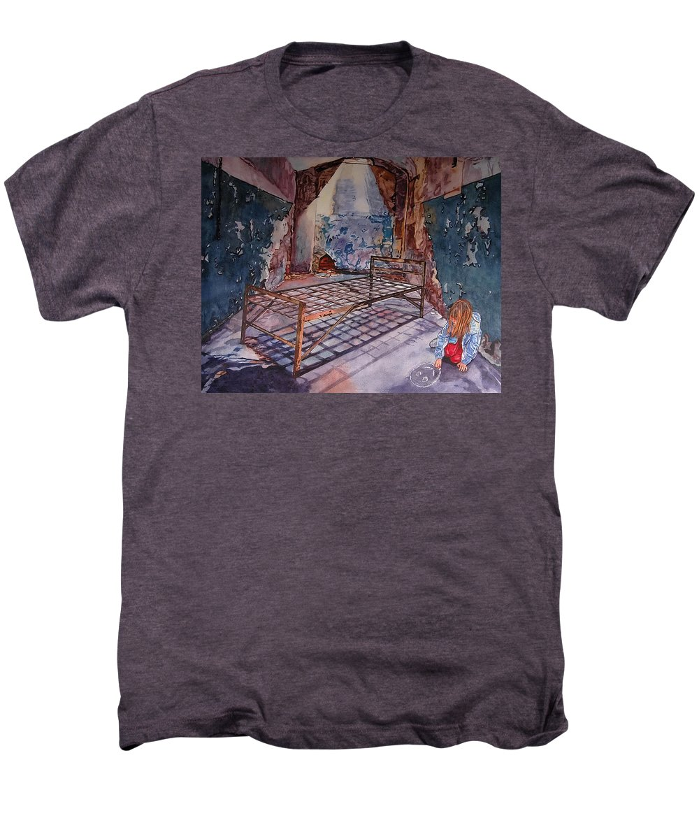 Social Commentary Men's Premium T-Shirt featuring the painting Attitude by Valerie Patterson