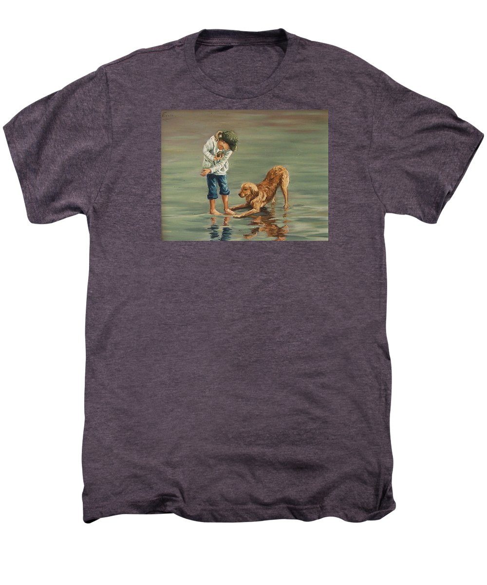 Girl Kid Child Figurative Dog Sea Reflection Playing Water Beach Men's Premium T-Shirt featuring the painting Autumn Eve by Natalia Tejera