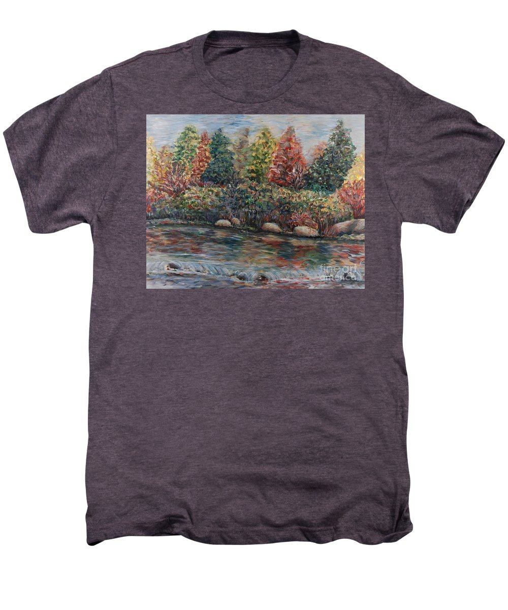 Autumn Men's Premium T-Shirt featuring the painting Autumn Stream by Nadine Rippelmeyer