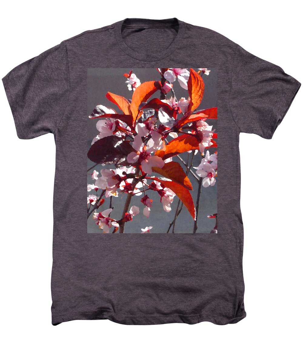 Floral Men's Premium T-Shirt featuring the painting Backlit Pink Tree Blossoms by Amy Vangsgard