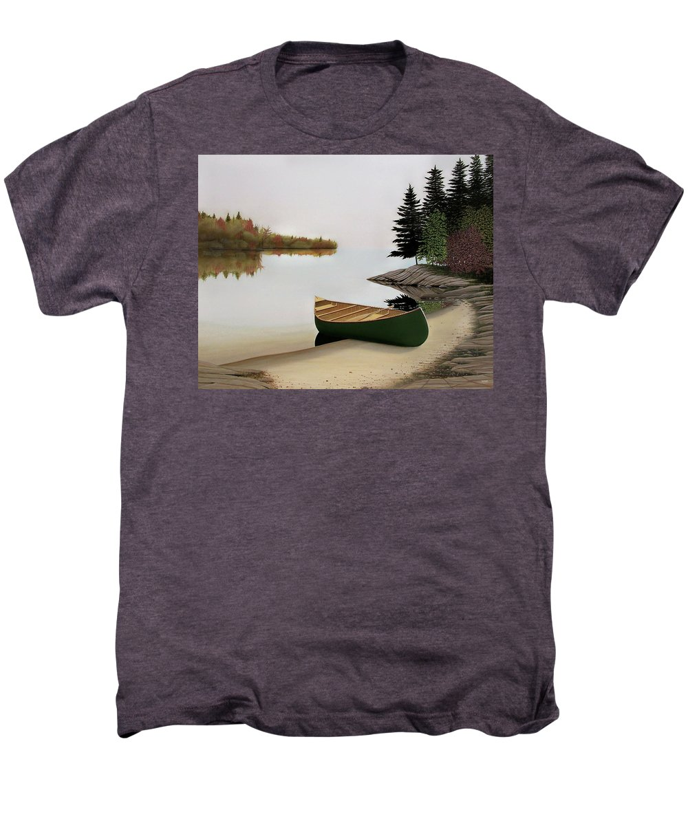 Canoe Paintings Men's Premium T-Shirt featuring the painting Beached Canoe In Muskoka by Kenneth M Kirsch