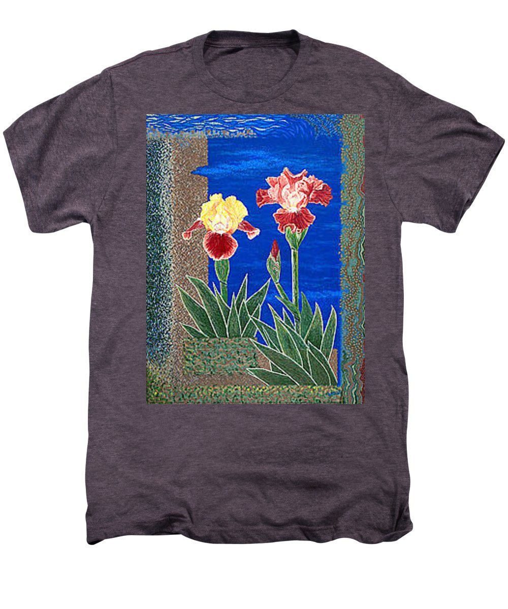 Irises Men's Premium T-Shirt featuring the painting Bearded Irises Cheerful Fine Art Print Giclee High Quality Exceptional Color by Baslee Troutman