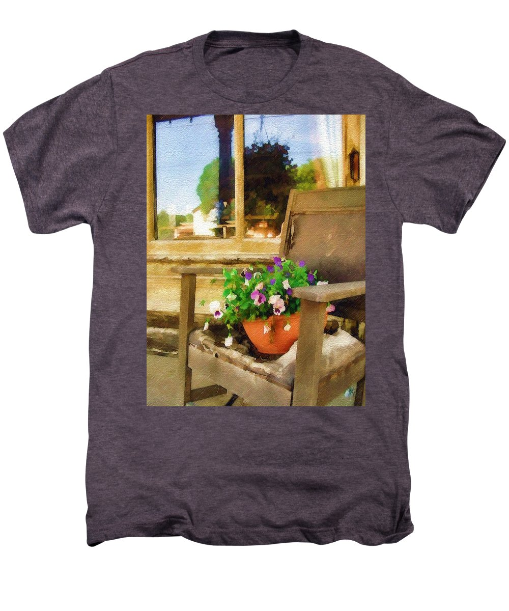 Pansies Men's Premium T-Shirt featuring the photograph Best Seat In The House by Sandy MacGowan