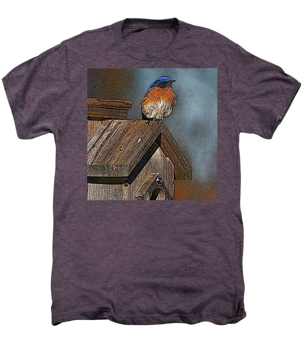 Blue Bird Men's Premium T-Shirt featuring the photograph Blue Bird Songs by Robert Pearson