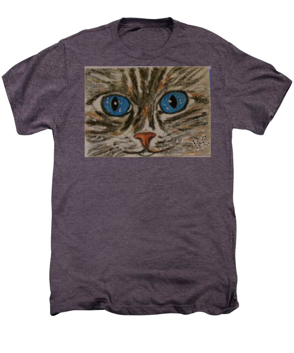 Blue Eyes Men's Premium T-Shirt featuring the painting Blue Eyed Tiger Cat by Kathy Marrs Chandler