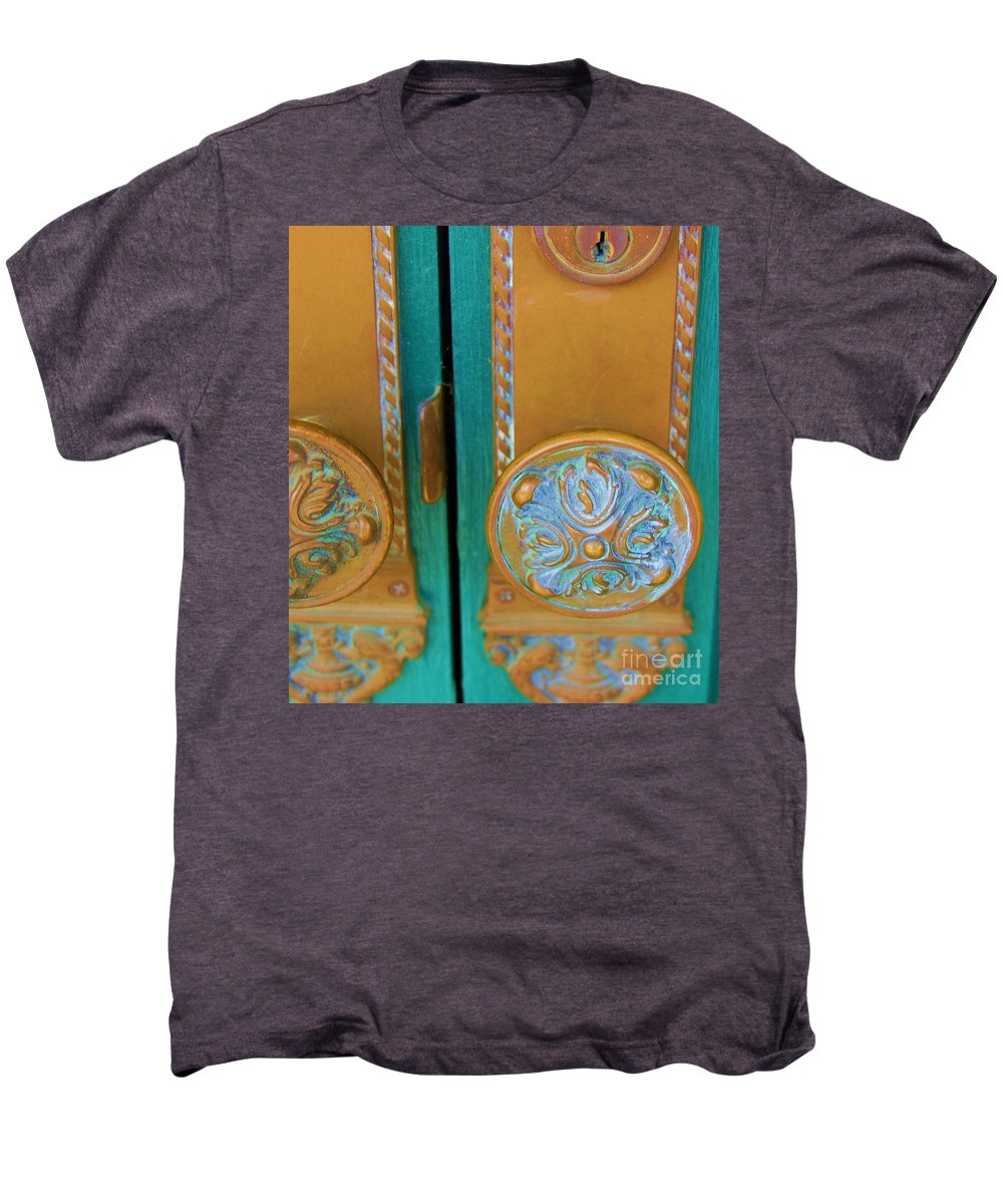 Door Men's Premium T-Shirt featuring the photograph Brass Is Green by Debbi Granruth
