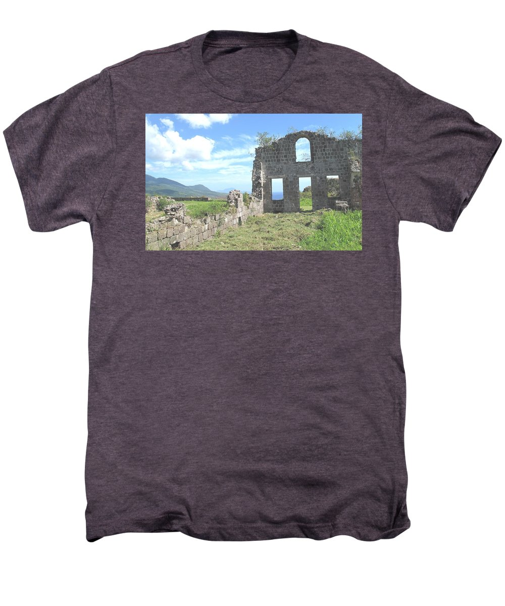 St Kitts Men's Premium T-Shirt featuring the photograph Brimstone Ruins by Ian MacDonald