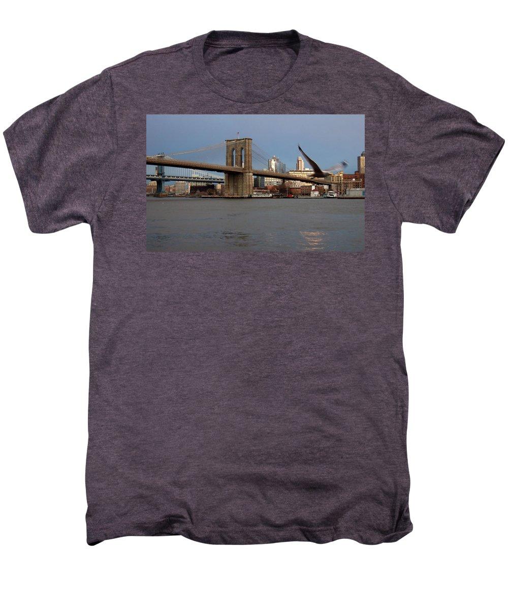 Brooklyn Bridge Men's Premium T-Shirt featuring the photograph Brooklyn Bridge And Bird In Flight by Anita Burgermeister